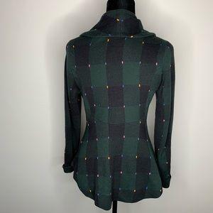 Anthropologie Sweaters - Anthropologie Plaid Navy Sweater Blazer Size Small